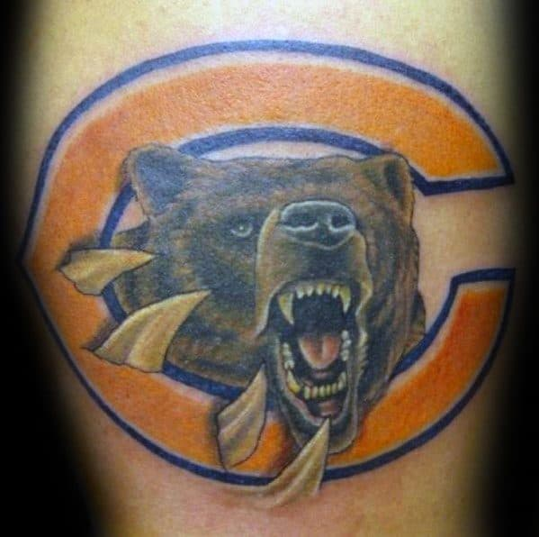 Arm Artistic Male Chicago Bears Tattoo Ideas