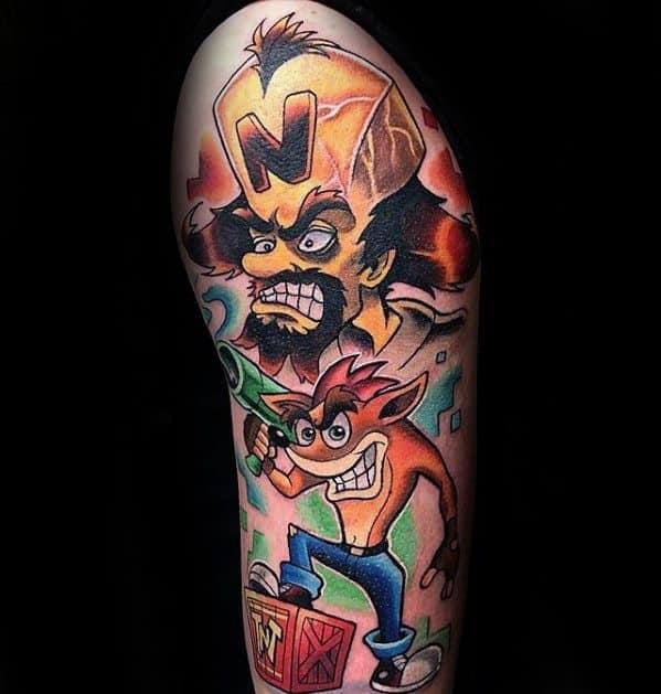 Arm Artistic Male Crash Bandicoot Tattoo Ideas