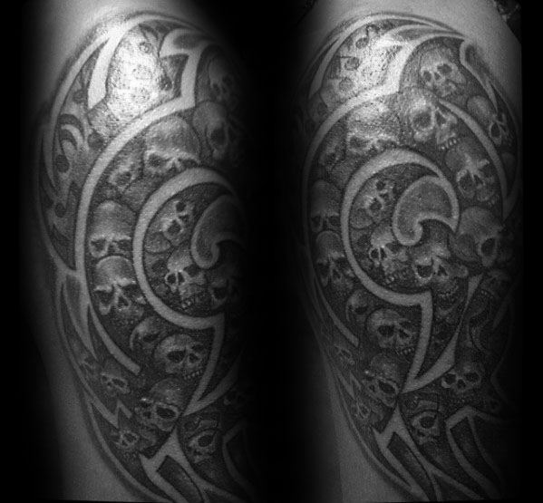 Arm Artistic Male Tribal Skull Tattoo Ideas