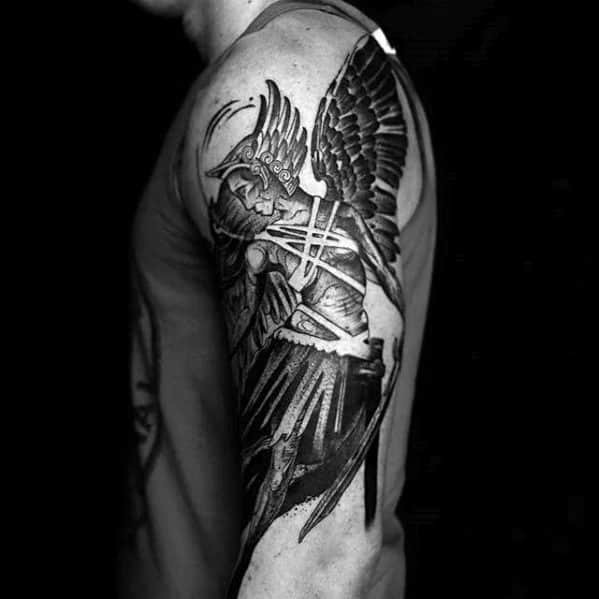 Arm Artistic Male Valkyrie Tattoo Ideas