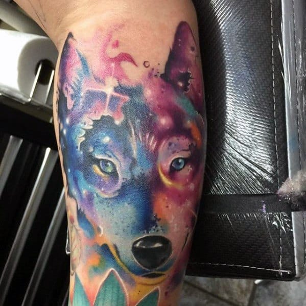 Arm Awesome Wolf Watercolor Tattoos For Men