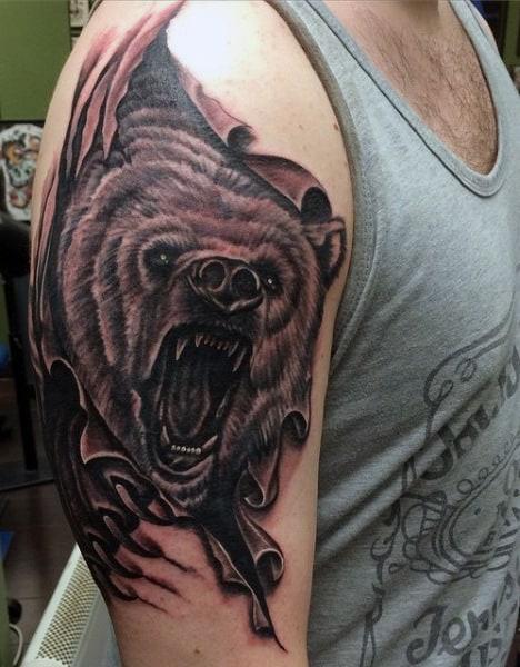 Arm Bear Tattoo Design For Guys