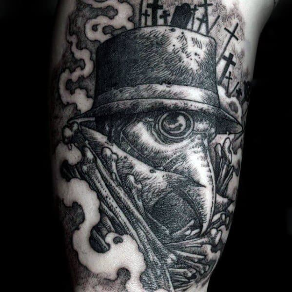 Arm Bicep Mens Plague Doctor Tattoo