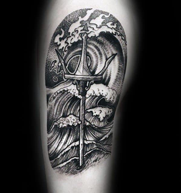 Arm Black And Grey Ink Mens Trident Tattoo Design Ideas