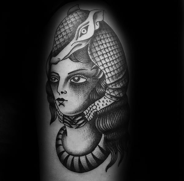 Arm Black And Grey Ink Shaded Female Portrait With Armadillo Tattoos For Men