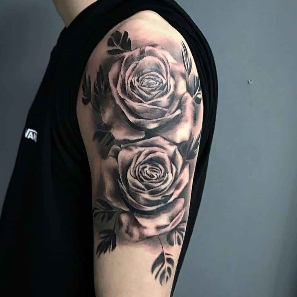 arm black and grey rose tattoos tattoomorpha