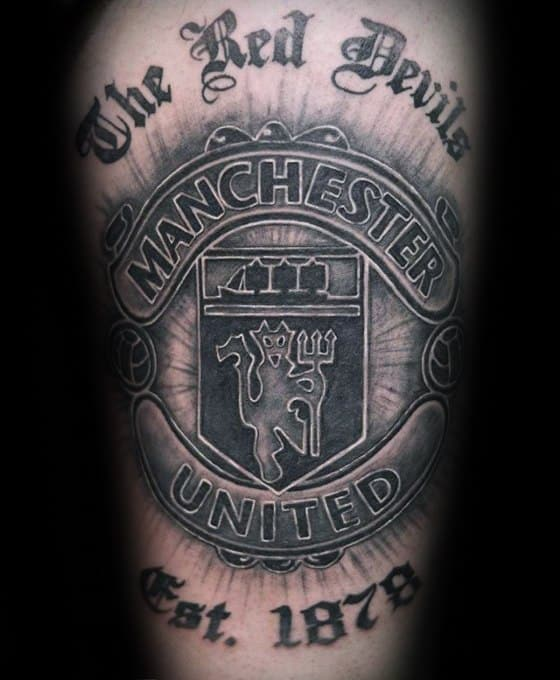 Arm Black And Grey Shaded Manchester United Guys Tattoo Ideas