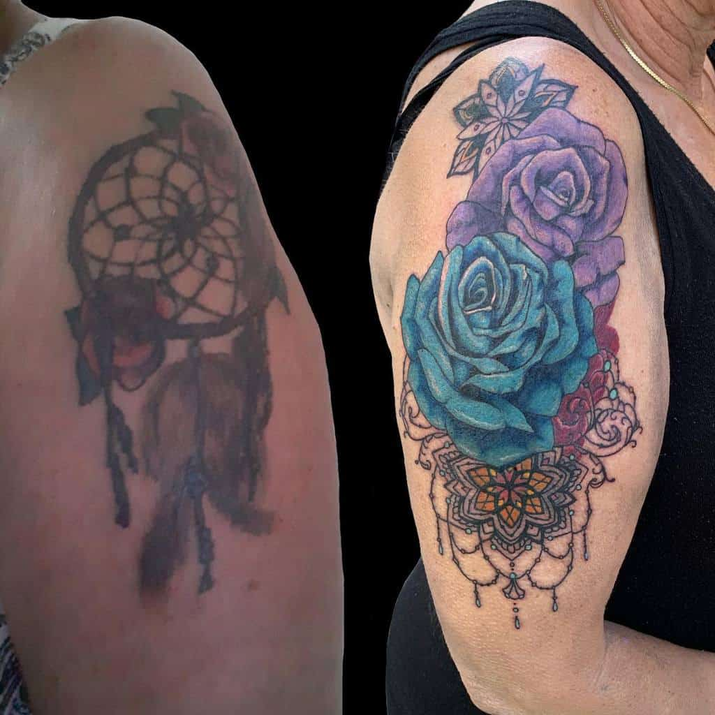 arm blue rose tattoos aa8tattoos