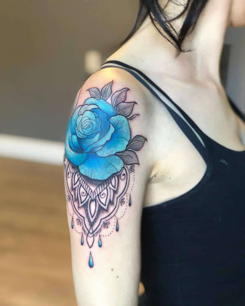 arm blue rose tattoos aavianatattoos
