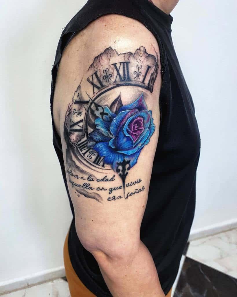 arm blue rose tattoos astrolabium_tattoo