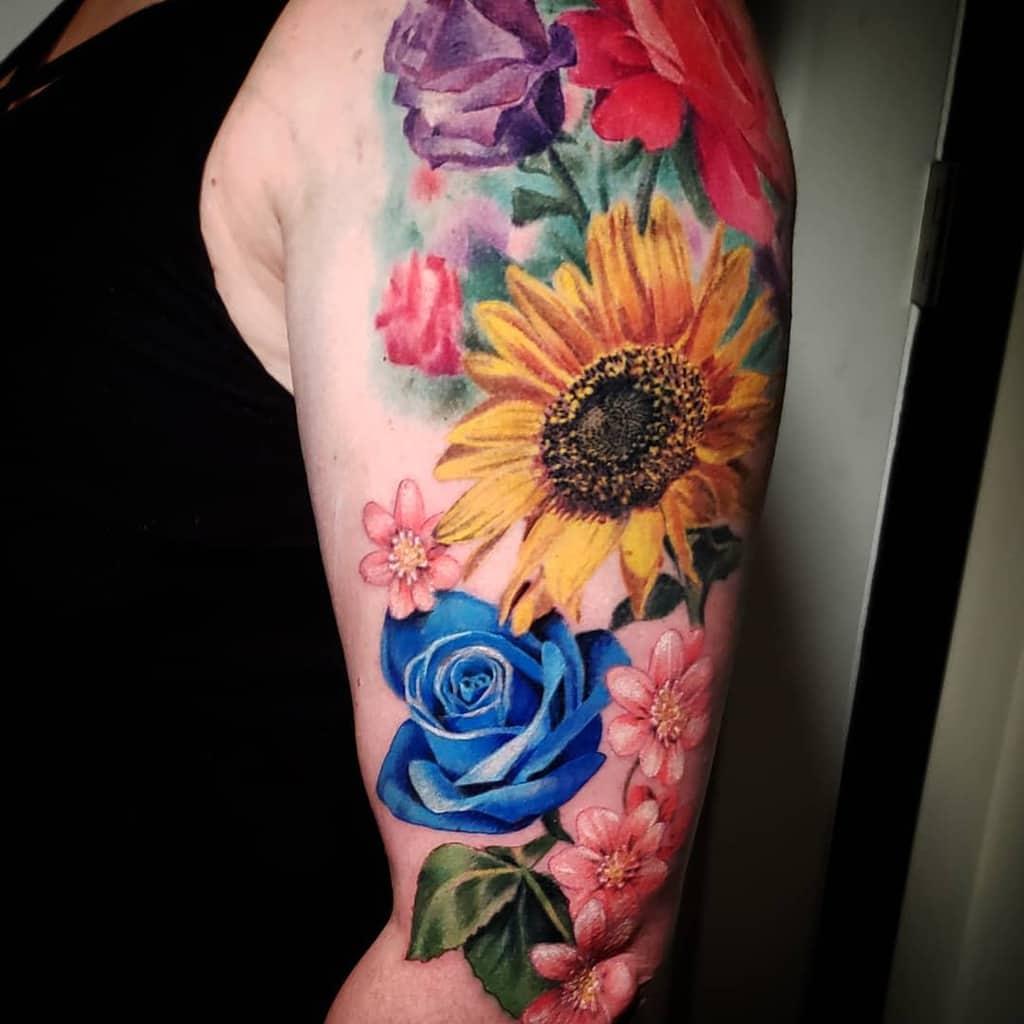 arm blue rose tattoos killakph