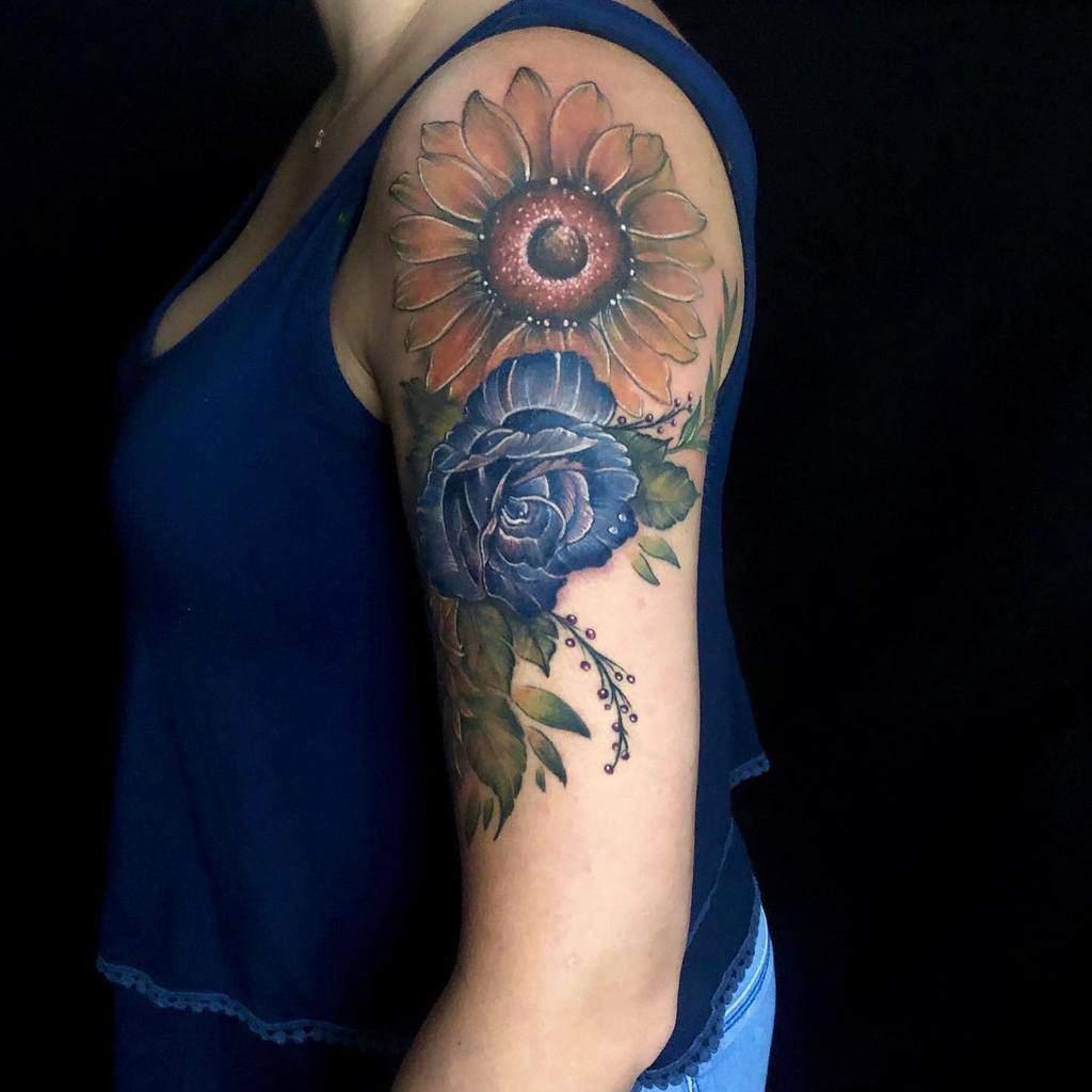 arm blue rose tattoos malibutattoostudio