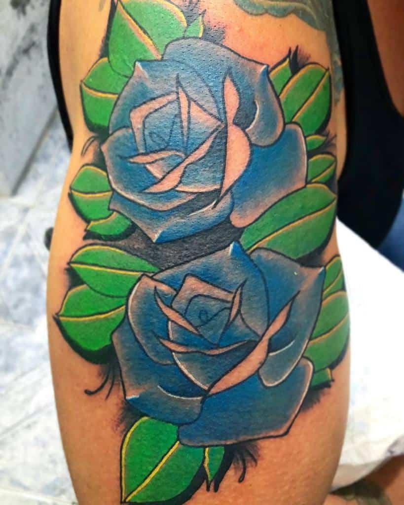 arm blue rose tattoos marujo.tattooist