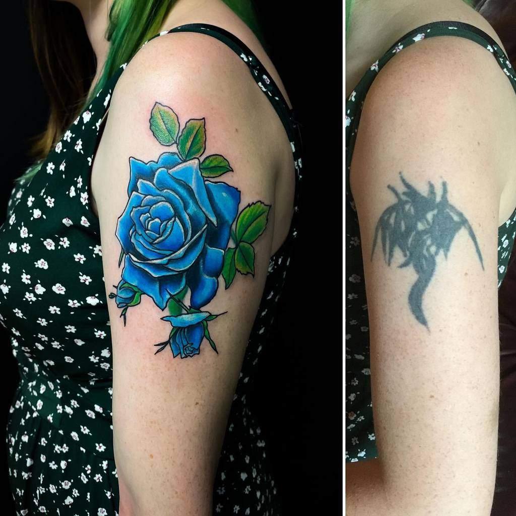 arm blue rose tattoos pinkeeink