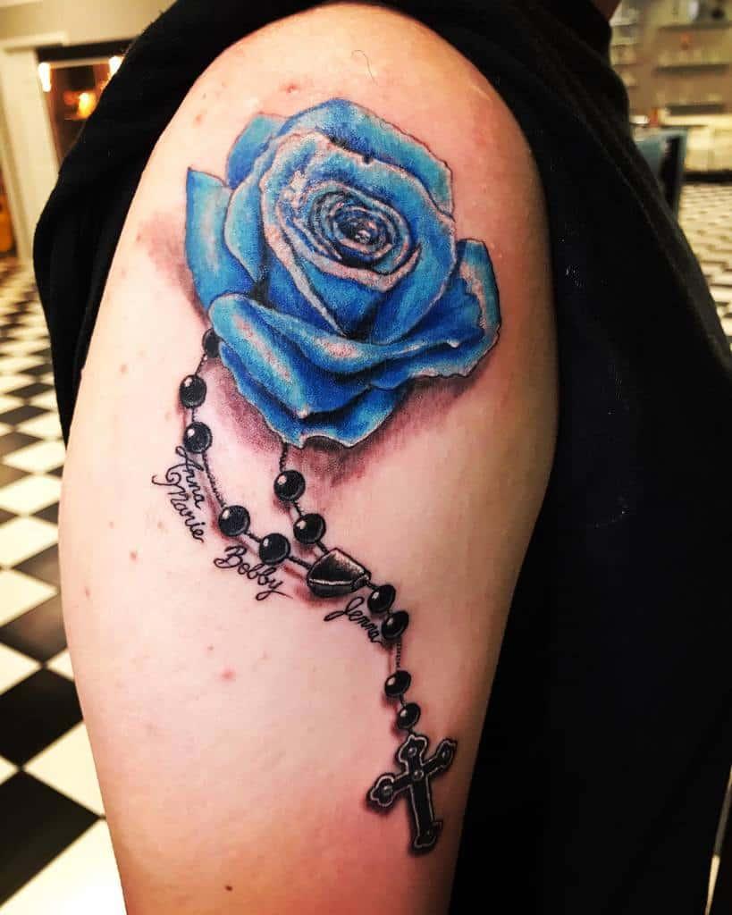 arm blue rose tattoos suganutt