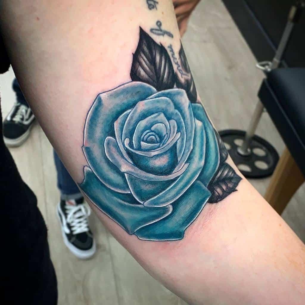 arm blue rose tattoos visionary_tatts