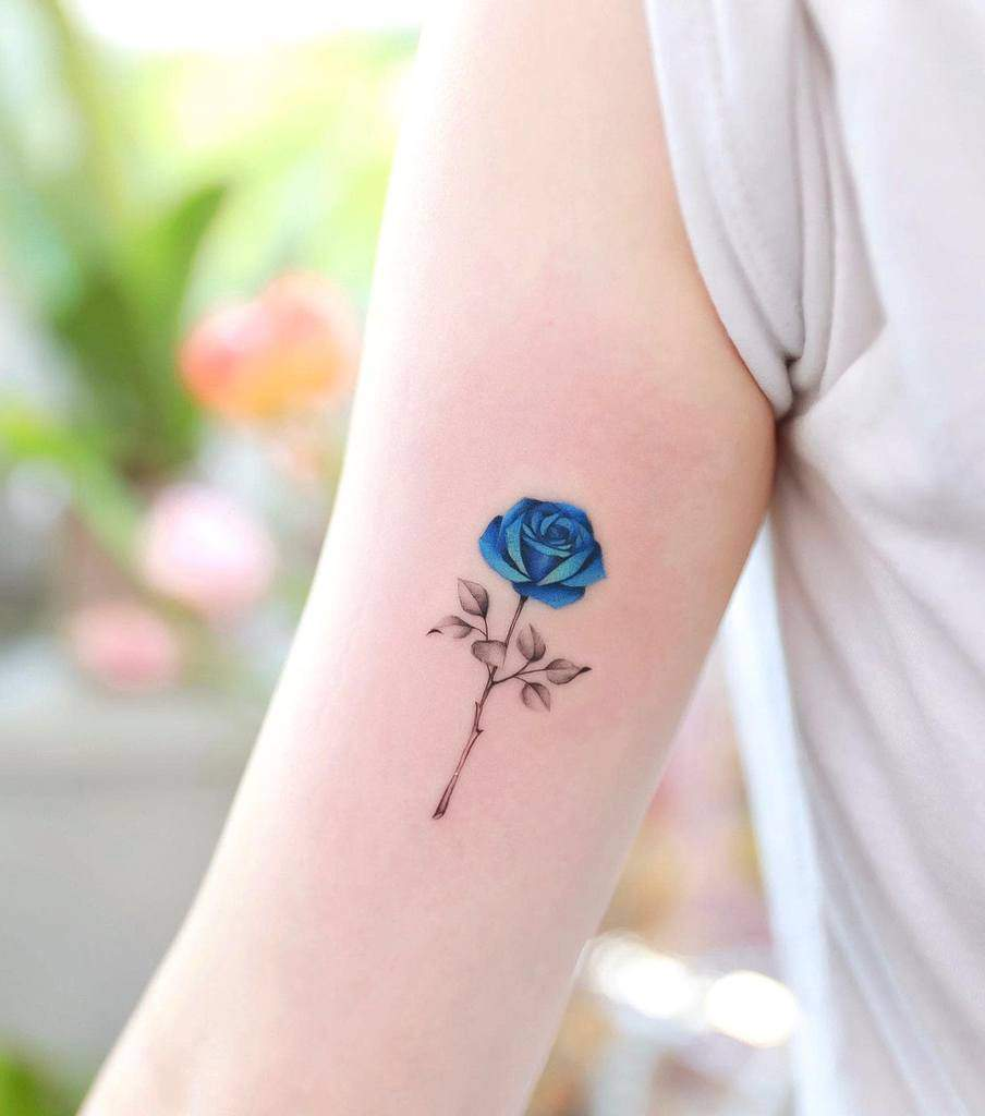 arm blue rose tattoos xiso_ink