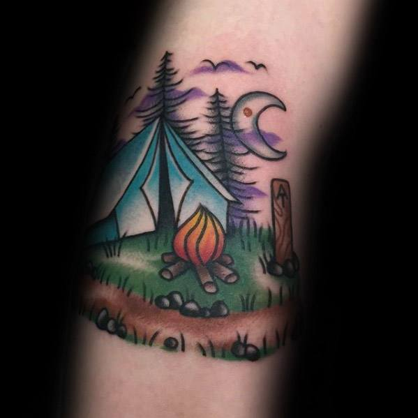 Arm Campfire With Tent Camping Tattoos For Males