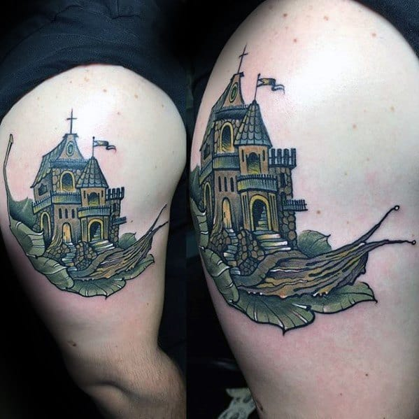 Arm Castle Snail Mens Tattoo Ideas