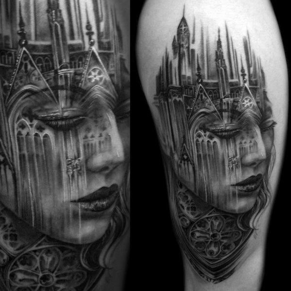 Arm Church Building With Female Portrait Morph Tattoos Guys