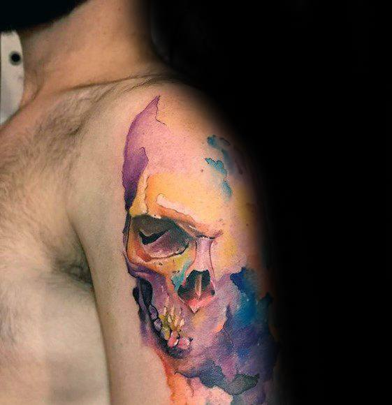 Arm Cool Male Watercolor Skull Tattoo Designs