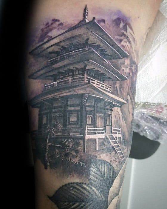 Arm Cool Pagoda Tattoo Design Ideas For Male