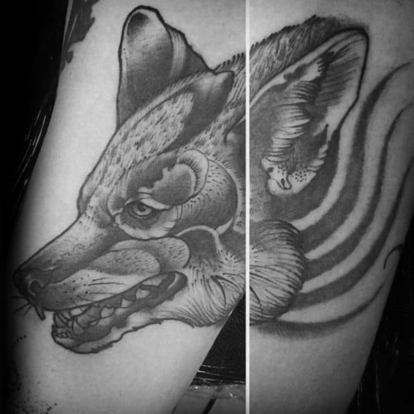 Arm Coyote Tattoo Ideas For Gentlemen