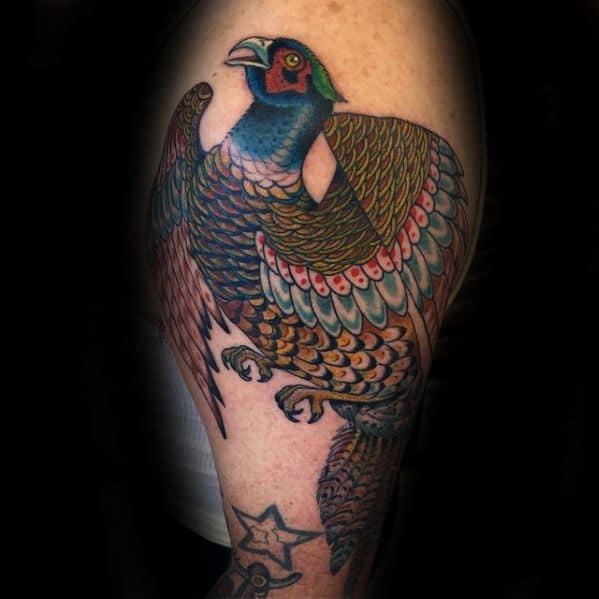 Arm Creative Pheasant Tattoos For Men