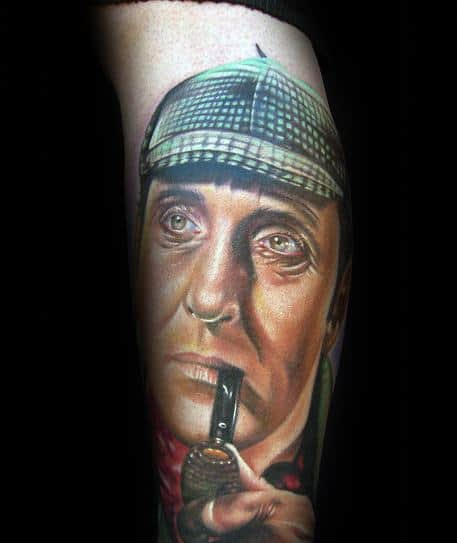 Arm Creative Sherlock Holmes Portrait Tattoos For Men