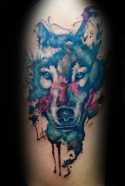 arm-creative-wolf-watercolor-tattoos-for-men