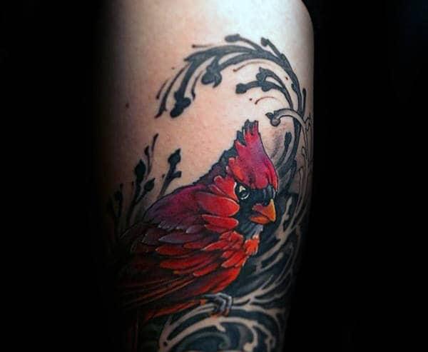 Arm Decorative Mens Cardinal Bird Tattoos