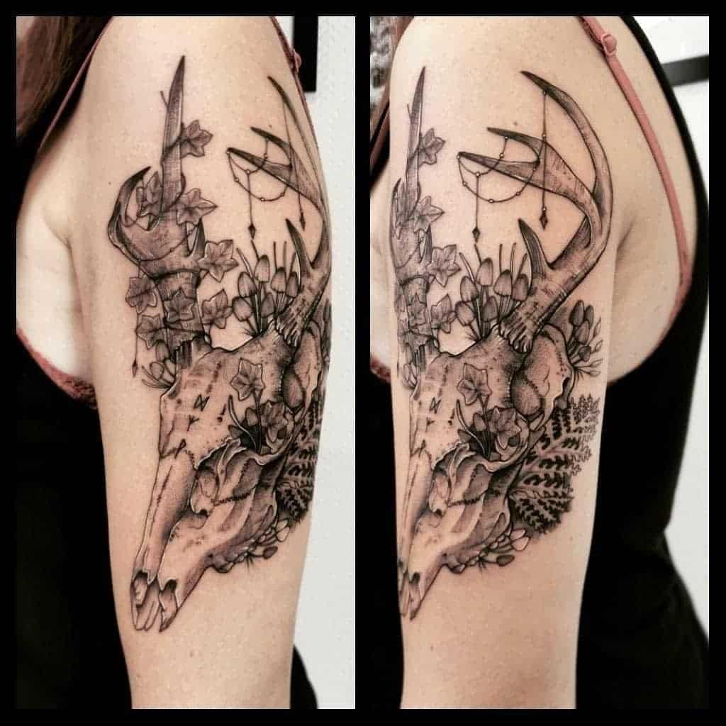arm deer skull tattoo _mistydeb_