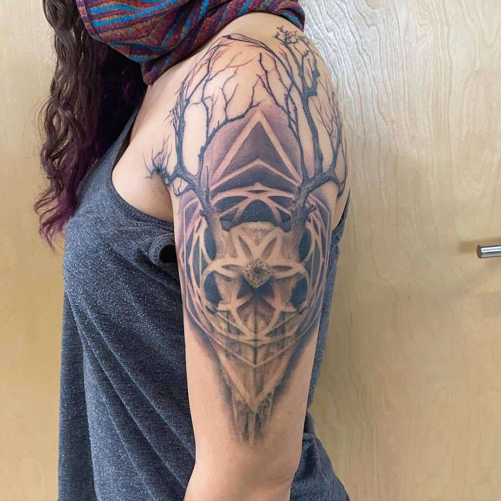 arm deer skull tattoo darklightstudiosllc