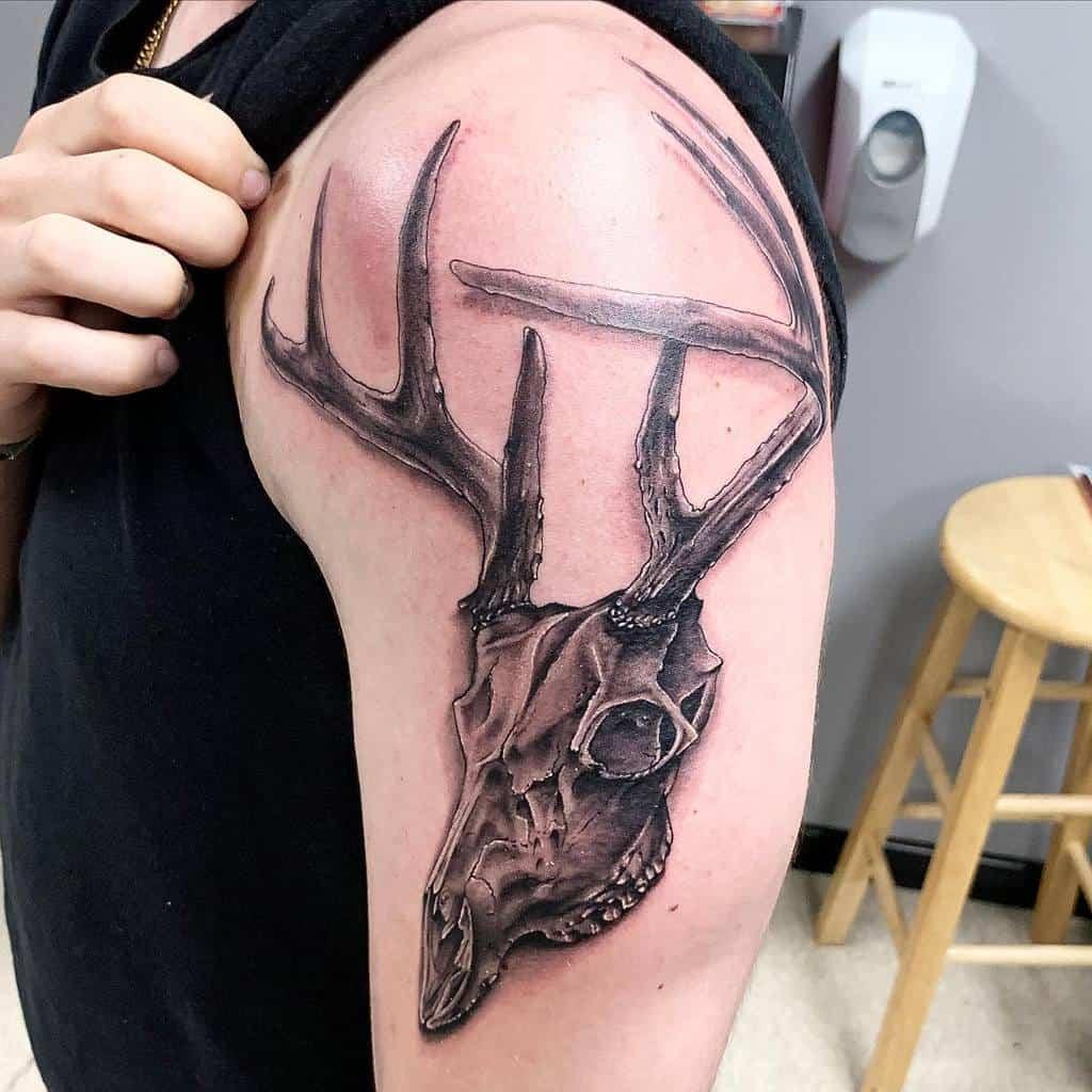 arm deer skull tattoo inksplat13tattoo