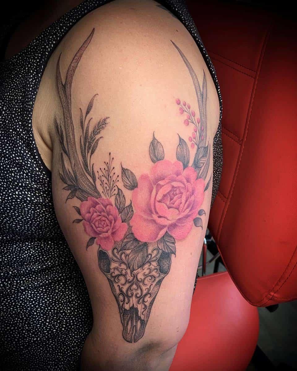 arm deer skull tattoo jstattooulvila
