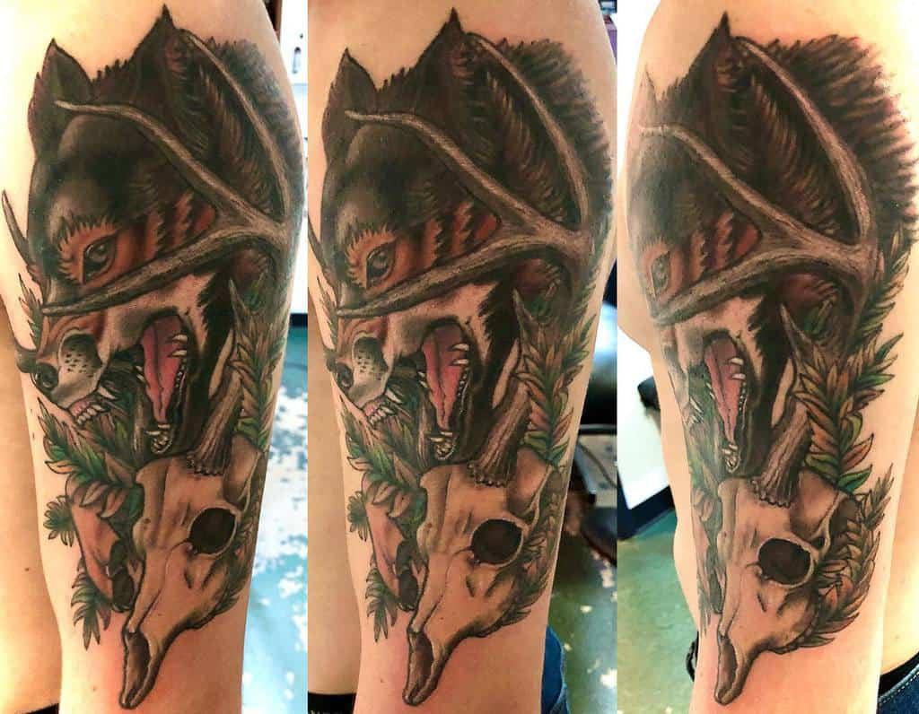 arm deer skull tattoo nervosatattoo
