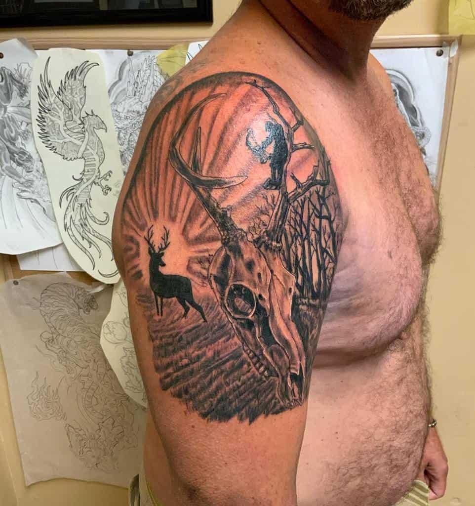 arm deer skull tattoo toddhowelltattoos