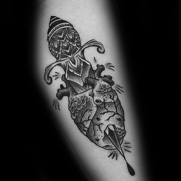 Arm Detailed Dagger Broken Heart Mens Tattoo Designs