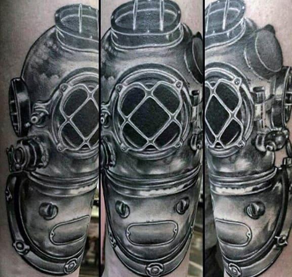 Arm Diving Helmet Tattoo Ideas For Gentlemen