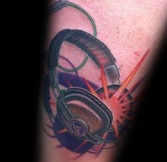 Arm Exploding Headphones Tattoo Design Ideas For Males