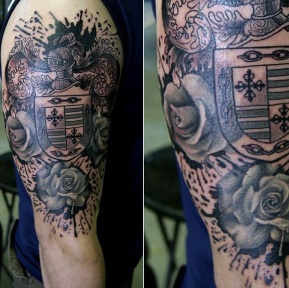 Arm Family Crest Tattoo With Roses For Men