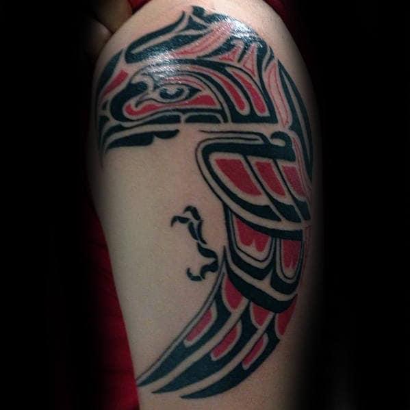 Arm Flying Hawk Tribal Bird Mens Tattoo Ideas
