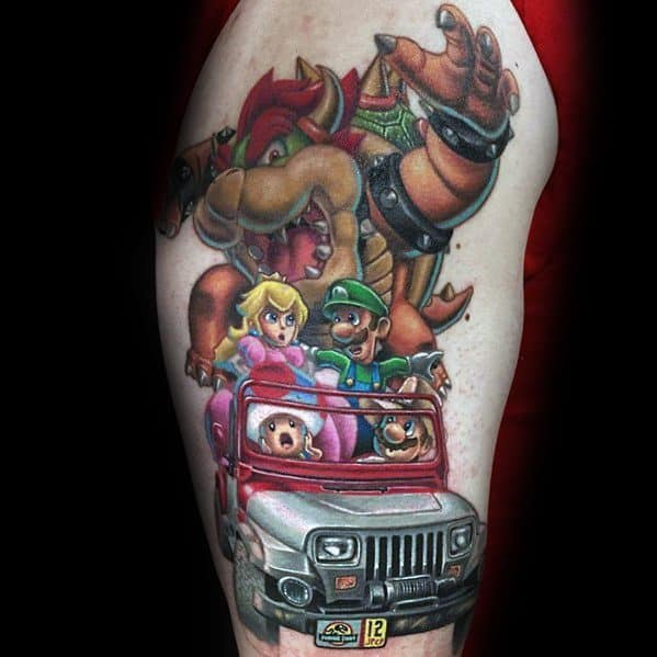 Arm Gentleman With Bowser Tattoo