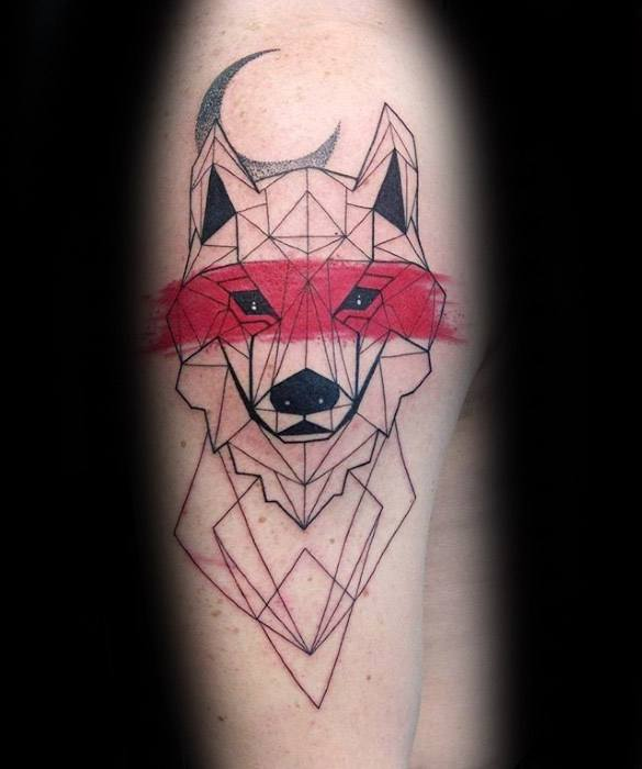 Arm Geometric Guys Sick Wolf Tattoo Design Ideas