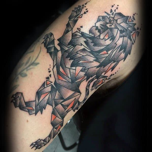 Arm Geometric Lion Mens Tattoo Ideas