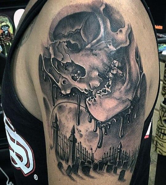 Arm Graveyard Scene Tattoos For Men