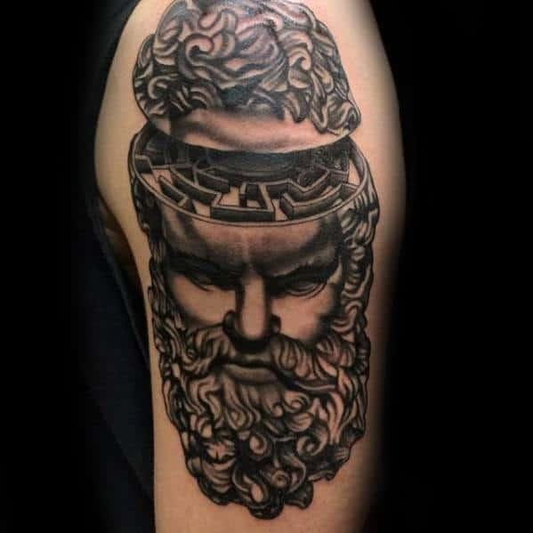 Arm Greek God Head Maze Tattoo Design Ideas For Males