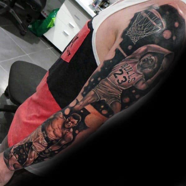 Arm Guys Dunk Basketball Chicago Bulls Tattoo