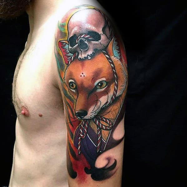 Arm Guys Kitsune Skull Tattoo Inspiration