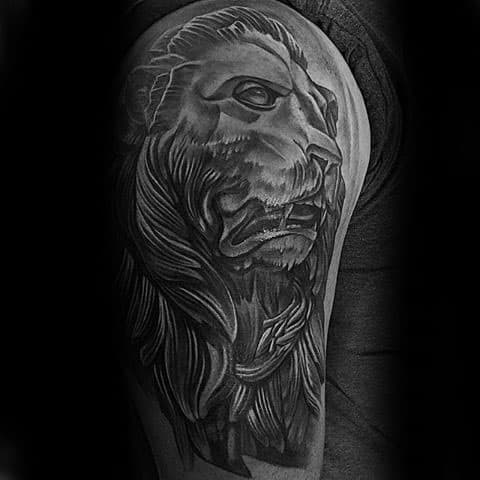 Arm Guys Lion Statue Tattoo Designs